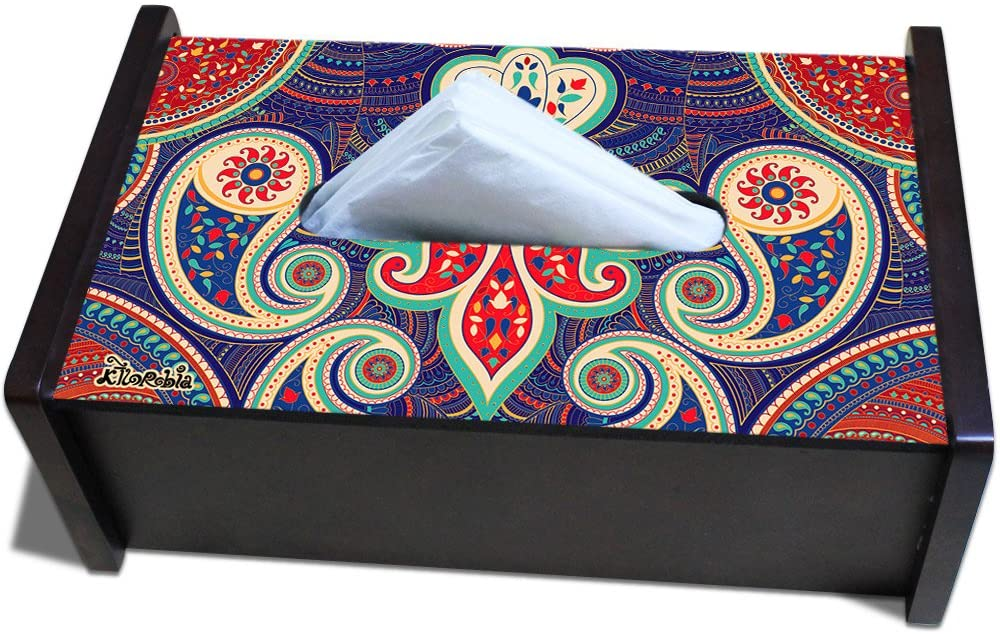 Kolorobia Paisley Wood Tissue Box, Multicolor