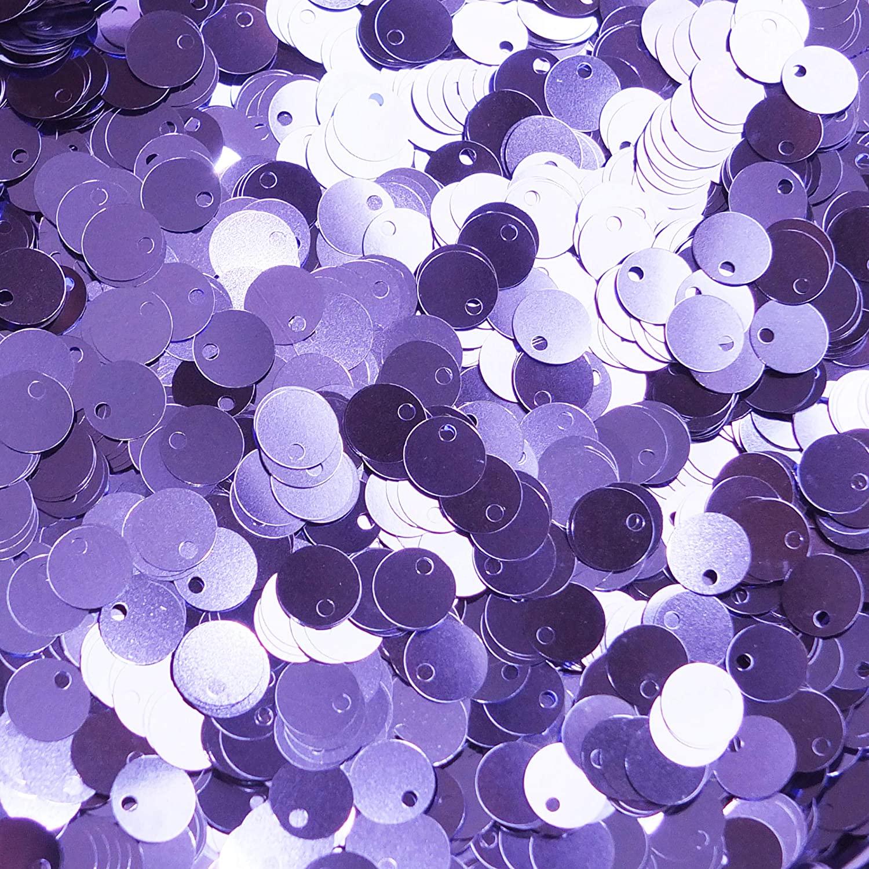 8mm Flat Sequins Lavender Light Amethyst Purple Metallic Medium Top Hole Made in USA