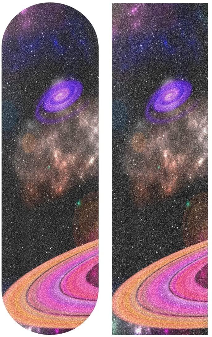 Skateboard Sandpaper, Marvellous Space Light Pattern 33.1 x 9.1 inch Skateboard Pedal Tape,Self-adhesive Bubble-free Waterproof Non-slip Skateboard Grip Tape Long board Skateboard Griptape Sticker
