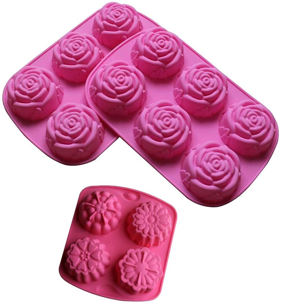 3-Pack Silicone Soap Molds Homemade Craft ROSE Mold Silicone Large Rose Flower Molds for Cake Baking Tart Pudding Cookie Making (Pink Large Rose (3 Pack))