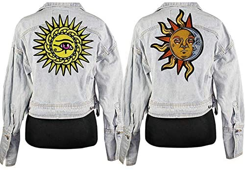 Embroidery Sun Eye Patch Iron on Patches for Clothing Applique DIY Hat Coat Dress Accessories Cloth Sewing 2piece