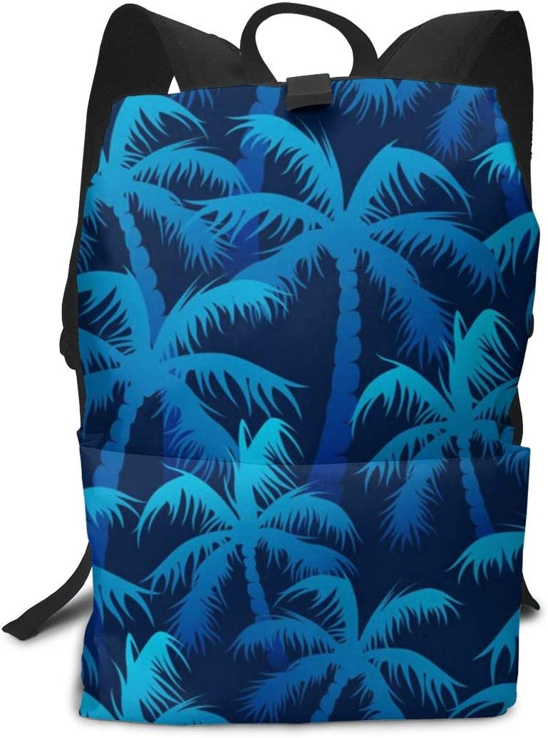 WAY.MAY Blue Palm Forest Pattern Adults Business Backpack Computer Shoulders Bag Travel Daypack