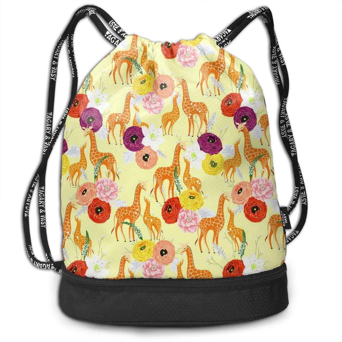 Bundle Backpacks Giraffe Mother Child Gym Sack Drawstring Bags Casual Daypack Yoga Bag School Training Pouch
