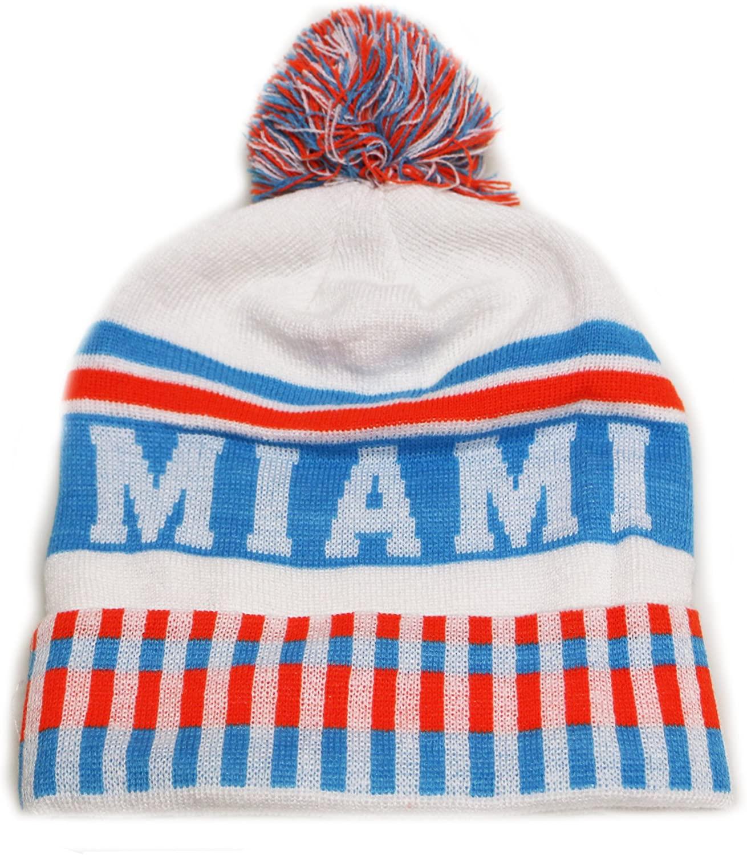 City Hunter Sk1120 Miami Vertical Pattern Pom Pom Beanie Hat - White/teal