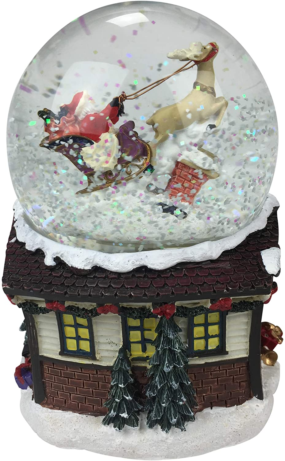 Musicbox Kingdom Music Box Kingdom 55054-Snow Globe with Santa and Sleigh