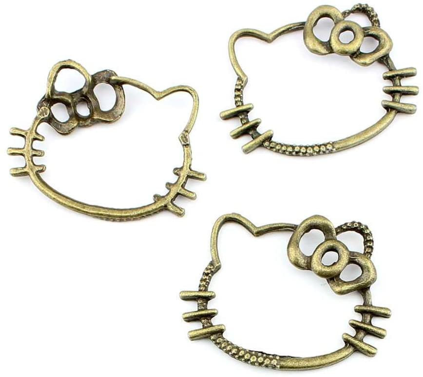 Qty:1PC Antique Bronze Jewelry Making Charms Findings Supplies Wholesale Ancient Fashion Bulk Bronze Retro Supply Z72303 Hello Kitty