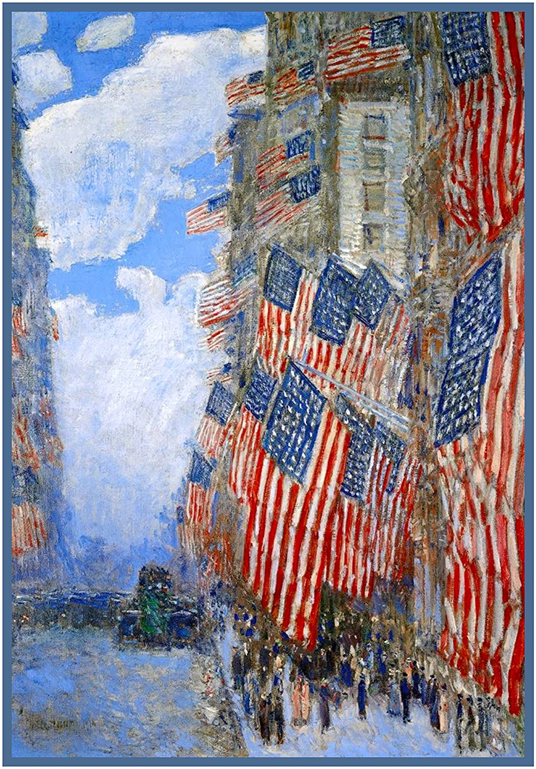 Orenco Originals American Flags on July 4th American Impressionist Painter Childe Hassam Counted Cross Stitch Pattern