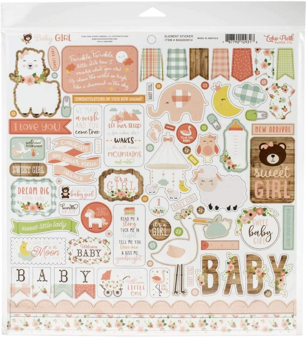 Echo Park Paper Company Baby Girl Collection Kit paper, pink, yellow, green, blue