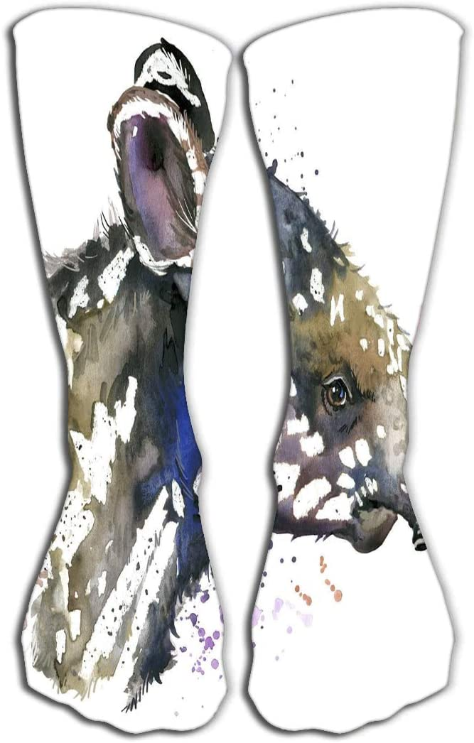 YILINGER Socks 19.7(50cm) for Women & Men - Best for Running, Athletic Sports, Crossfit, Flight Travel Watercolor Tapir cub Unusual Fashion Print Poster Textiles