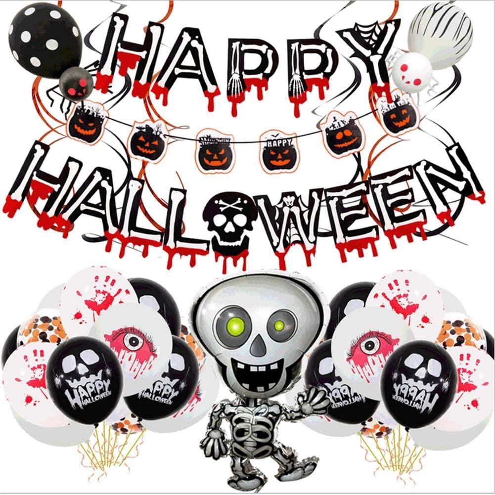 Halloween Balloon Set Halloween Balloon Decoration Including Skull Pumpkin Alphabet Balloons for Home Shop Haunted House Party Birthday Celebration