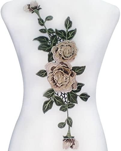 1piece 3D Floral Lace Embroidery Applique Lace Fabric Cord Patches Motif Venise Clothes Decorated DIY Design Craft T2264