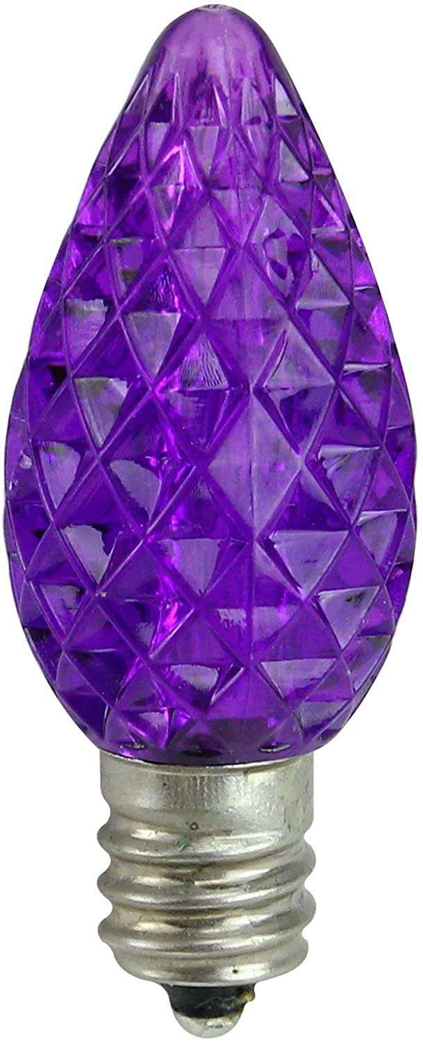 Northlight Pack of 25 Faceted LED C7 Purple Christmas Replacement Bulbs