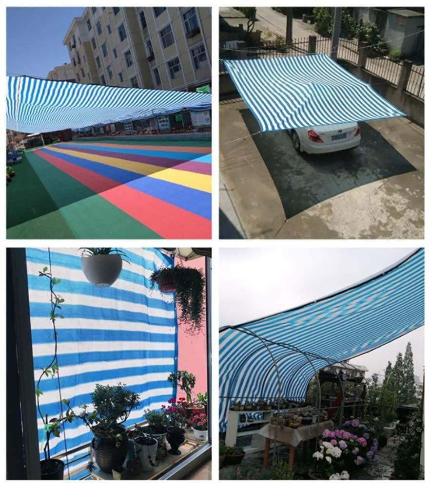 KMMK Shade Cloth, Sun Network, Flowers Shading Canopy-Shade Netting Garden Netting Anti-Uv Shade Cloth Edged with Grommets, Blue and White Stripe Sunblock Net Sun Shade Mesh - 80G/M²,5×5m
