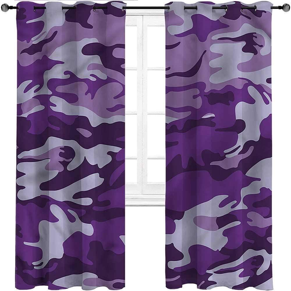 Interestlee Gazebo Curtains Camouflage Grommet Drapes for Patio Pergola Porch Deck Purple Toned Waves Set of 2 Panels, 84 Width x 96 Length
