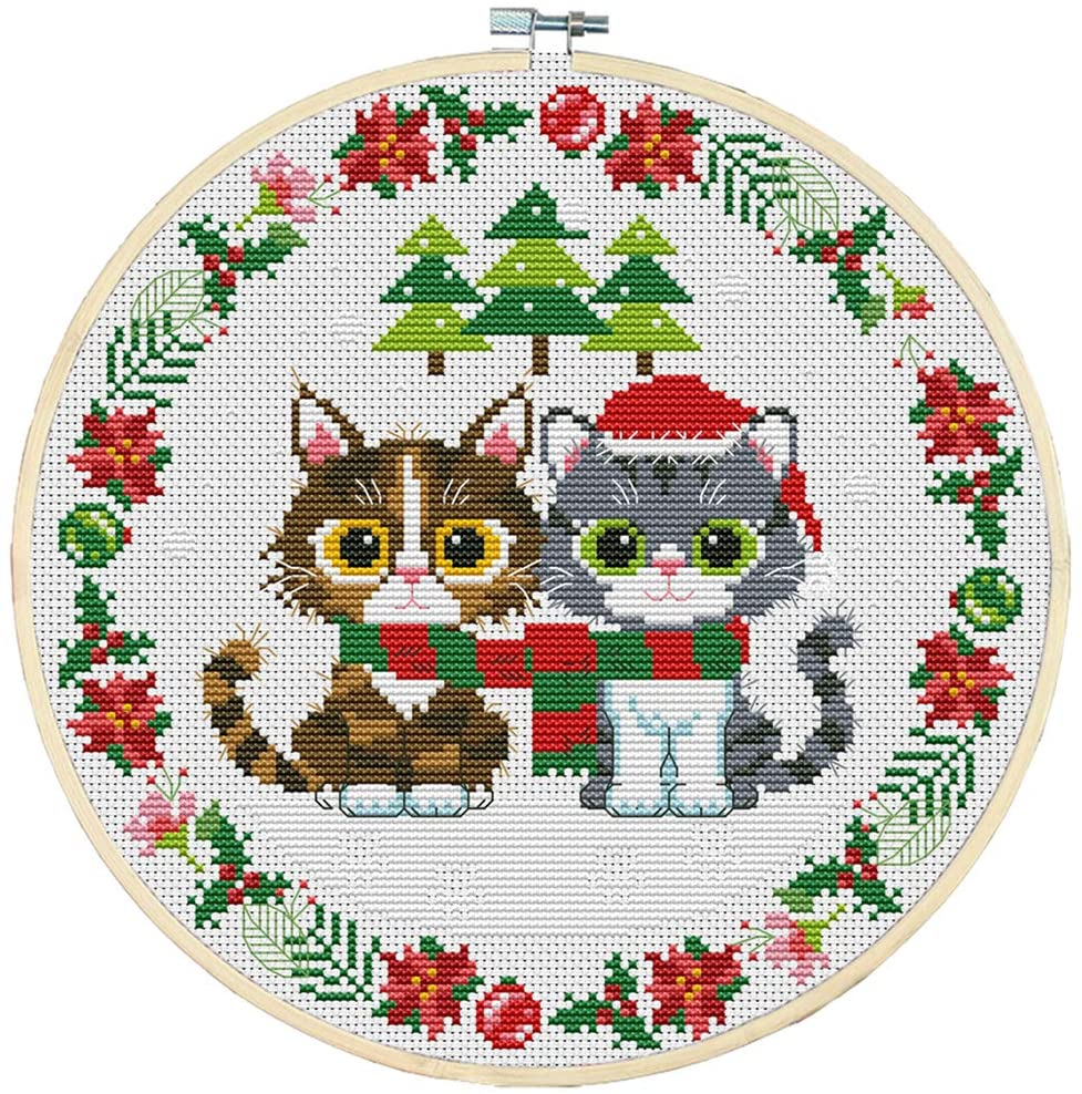 HMANE Full Set of Handmade Embroidery Starter Kit Cross Stitch Kits DIY Embroidery for Beginners Without Frame, 35x35CM 11CT - Two Christmas Kittens