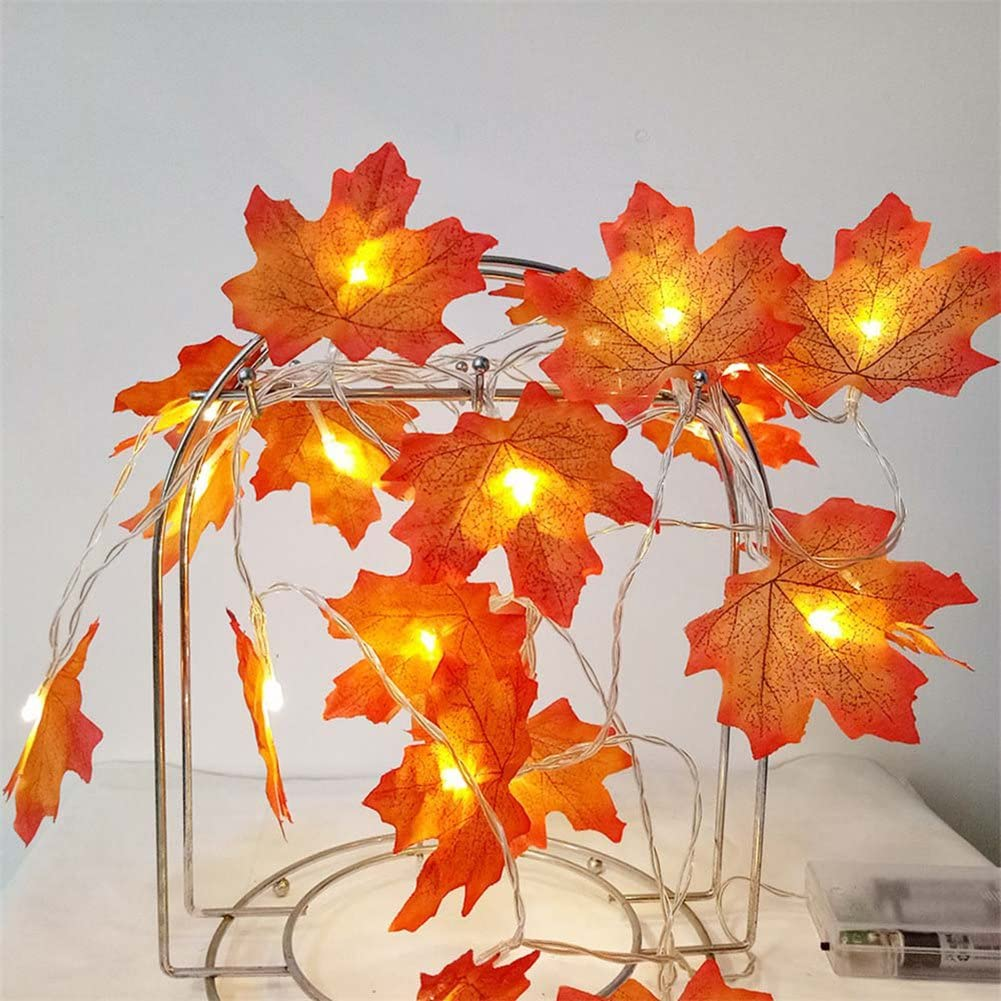 MIFXIN Maple Leaves Decoration String Lights Thanksgiving Harvest Fall Garlands 9.8ft 20 LEDs Battery Operated String Light Wedding Party Holiday Christmas Decor (Red)