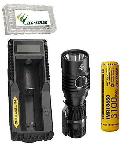 NITECORE MH23 1800 Lumen Compact Flashlight w/10A 3100mAh Battery, UM10 Charger +FREE Eco-Sensa Battery Case