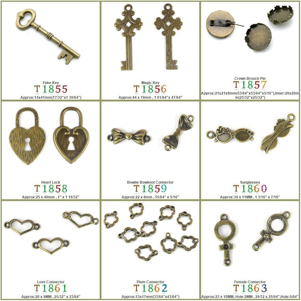 150 PCS Jewelry Making Charms Findings T1858 Heart Lock Jewellery Bronze Charme Supply Supplies Crafting Bracelet Wholesale Craft Alloys Lots Bulk Necklace Antique Retro DIY