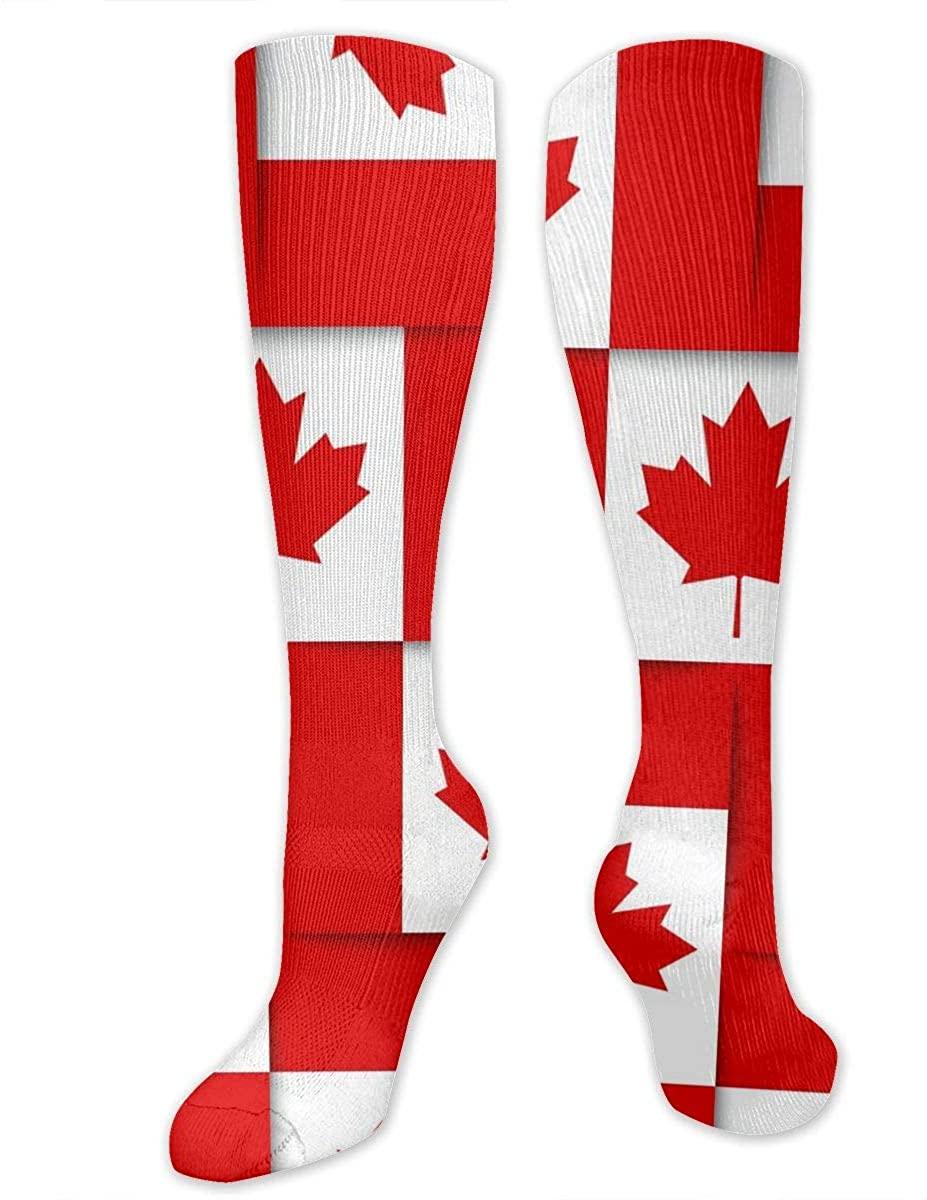 Knee High Socks For Men Women Canadian Canada Flag Hiking Hose Stockings
