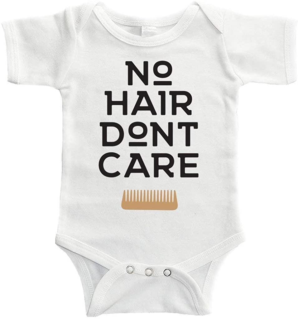 Baby Onesie No Hair Dont Care Bodysuit Funny Newborn Onesie Bodysuit in 5 Sizes - S