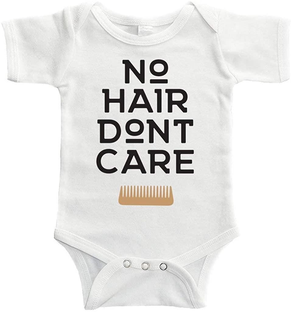 Baby Onesie No Hair Don't Care Bodysuit Funny Newborn Onesie Bodysuit in 5 Sizes - S