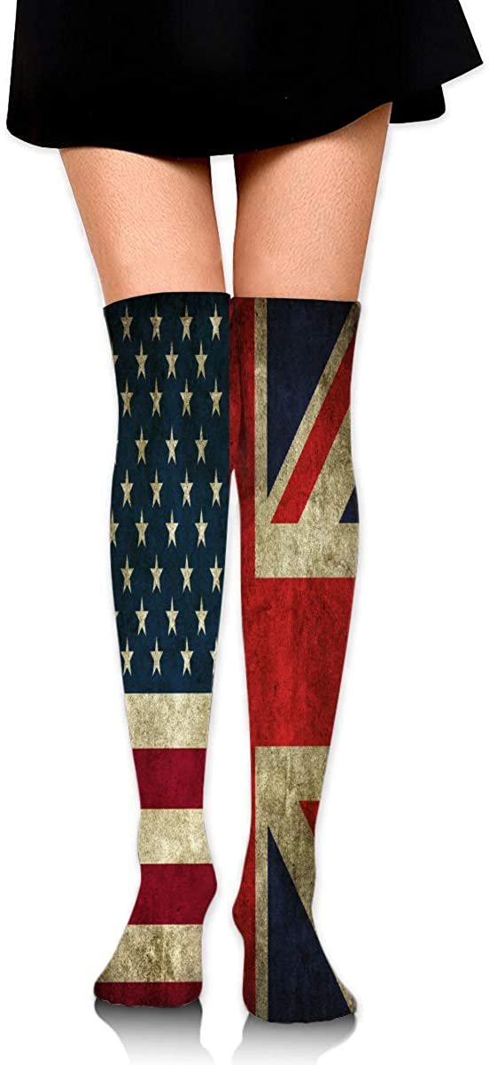 Knee High Socks American And British Flags Women's Athletic Over Thigh Long Stockings