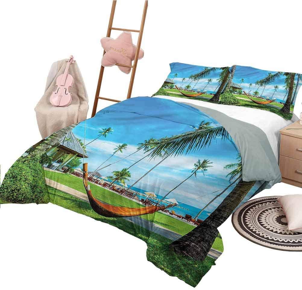 Nomorer Duvet Cover Pattern Twin Size Beach Soft Lightweight Coverlet for All Season Hammock Between Palm Trees