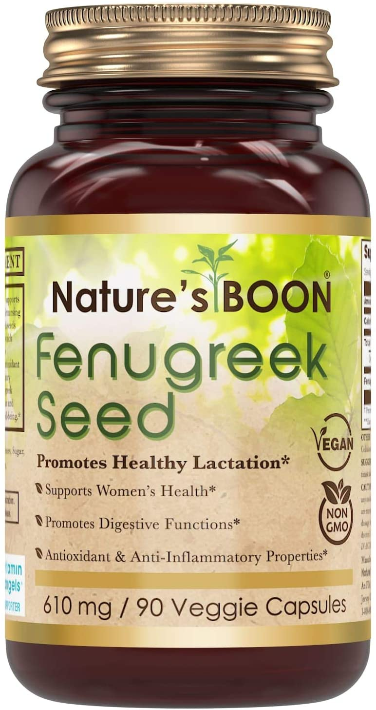 Nature's Boon Premium Quality Fenugreek 610 mg, 90 Veggie Capsules (Glass Bottle) -Supports Lactation for Nursing Women -Supports Healthy Inflammatory Support -Supports Metabolic Function