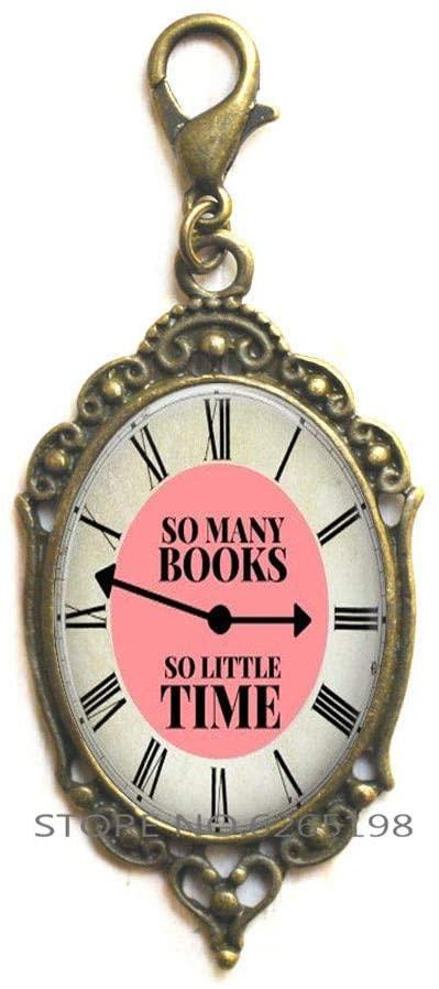 So Many Books, so Little time, Book Lobster Clasp, Book Zipper Pull, Book Jewelry, Clock Zipper Pull, Clock Lobster Clasp,N336
