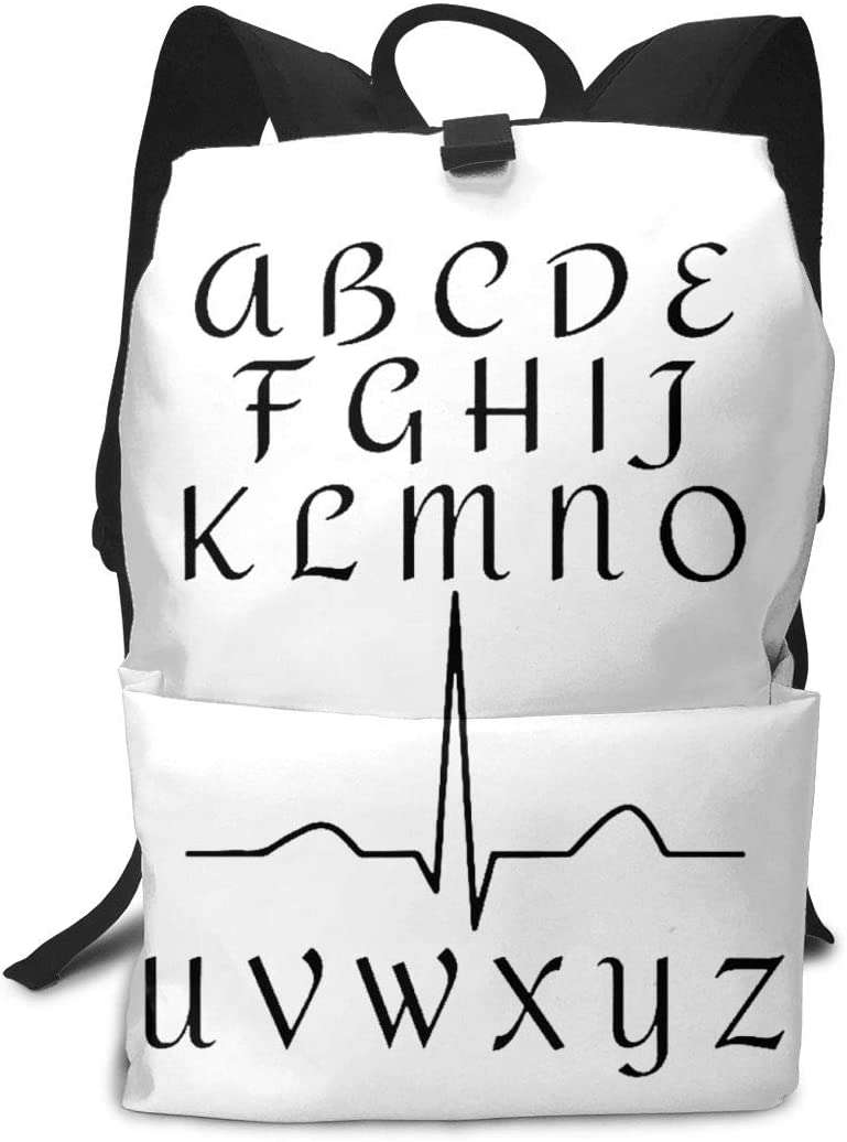 WAY.MAY Funny ECG Nurse Heartbeat Adults Business Backpack Computer Shoulders Bag Travel Daypack
