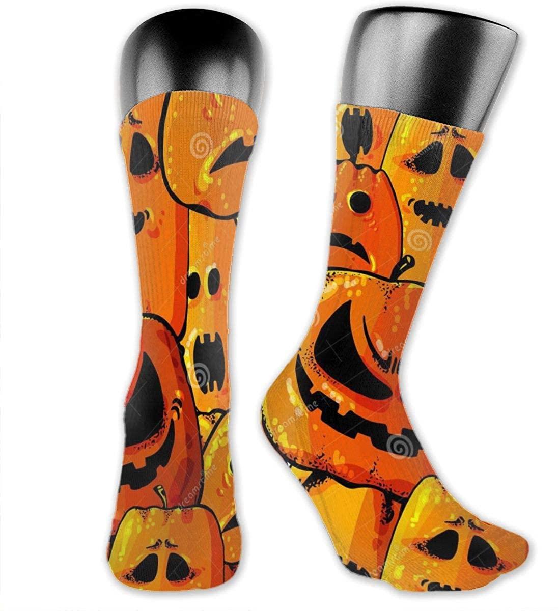Fdeskaw 3D Halloween Pumpkin Head Background Crazy Design Soft & Stretchy Novelty Crew Socks For Men, Women & Kids