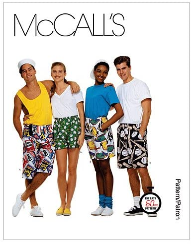 McCall's Patterns M6104 Misses'/Men's/Teen Boys' Boxer Shorts in 3 Lengths, Size SML