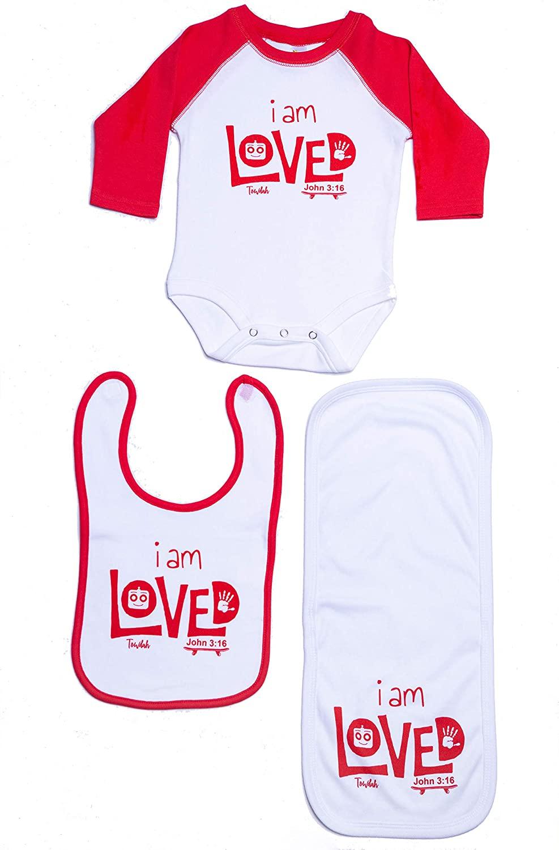 Christian Baby Raglan Onesie Shirt Gift Set - Bible Verse John 3:16 Loved - Godchild Baptism Christening Dedication