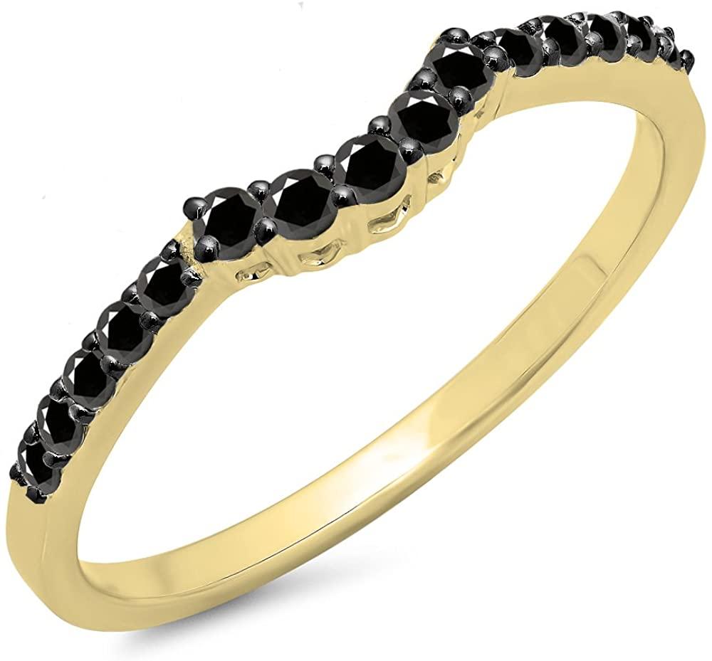 Dazzlingrock Collection 0.30 Carat (ctw) 14K Gold Round Black Diamond Ladies Contour Wedding Guard Ring 1/3 CT