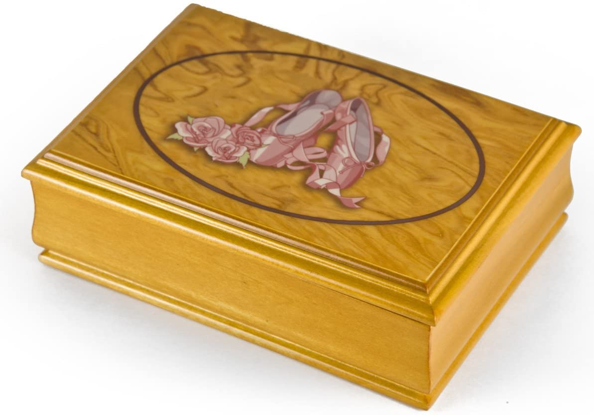 Light Wood Tone 18 Note Ballerina Pointe Shoe Design Musical Jewelry Box - Many Songs to Choose - You are The Sunshine of My Life