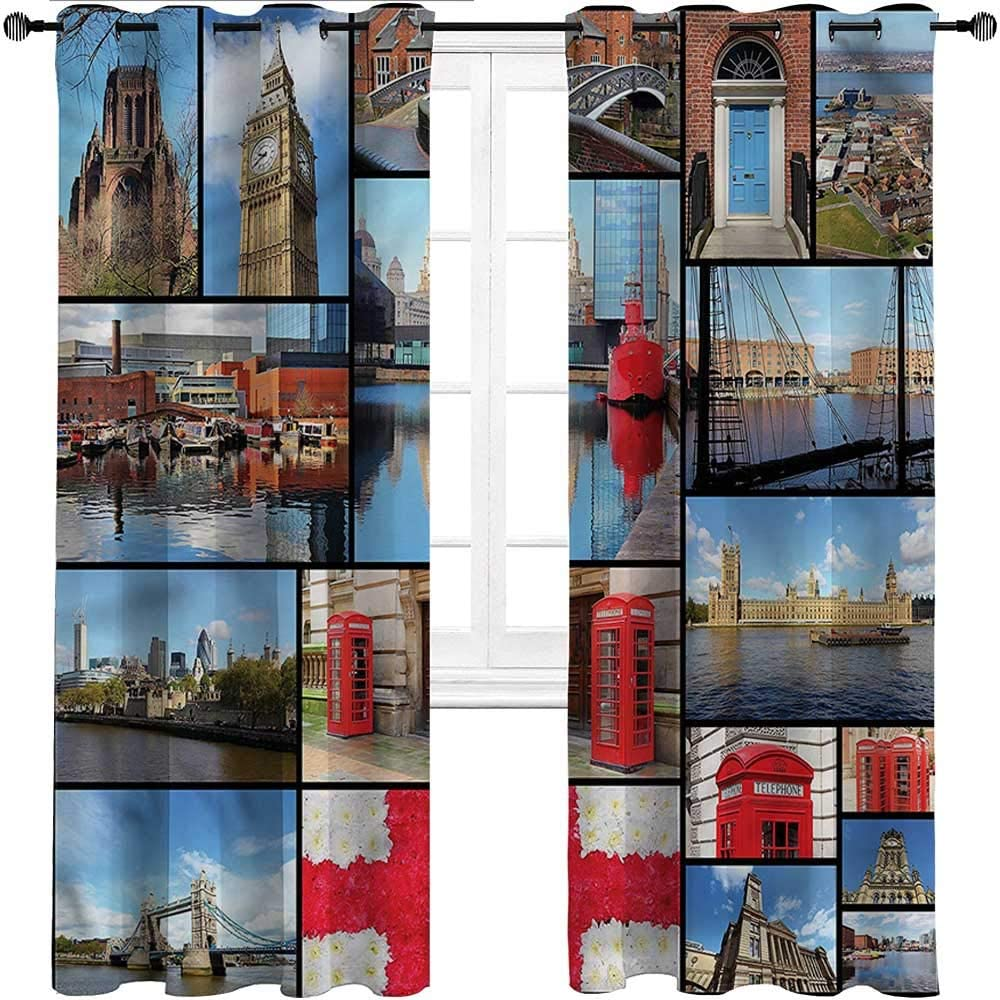 GugeABC Window Curtains England Grommet Drapes for Patio Pergola Porch Deck City Landmarks Floral,Set of 2 Panels, 84 Width x 72 Length
