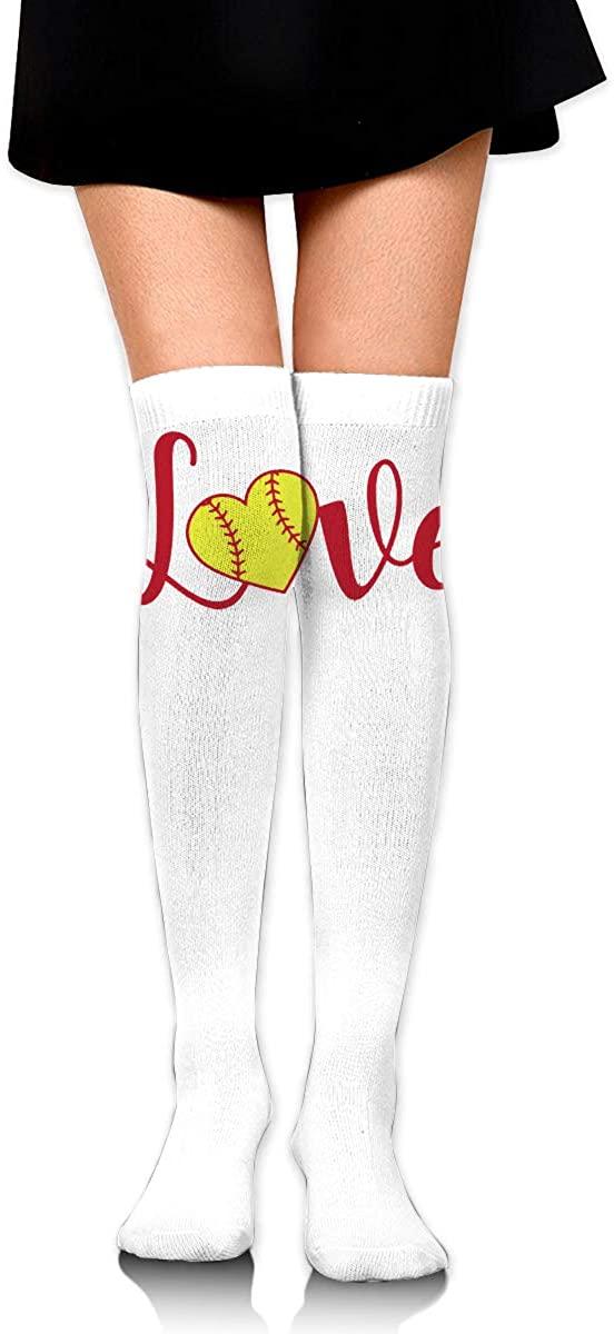 Knee High Socks I Love Baseball Women's Athletic Over Thigh Long Stockings