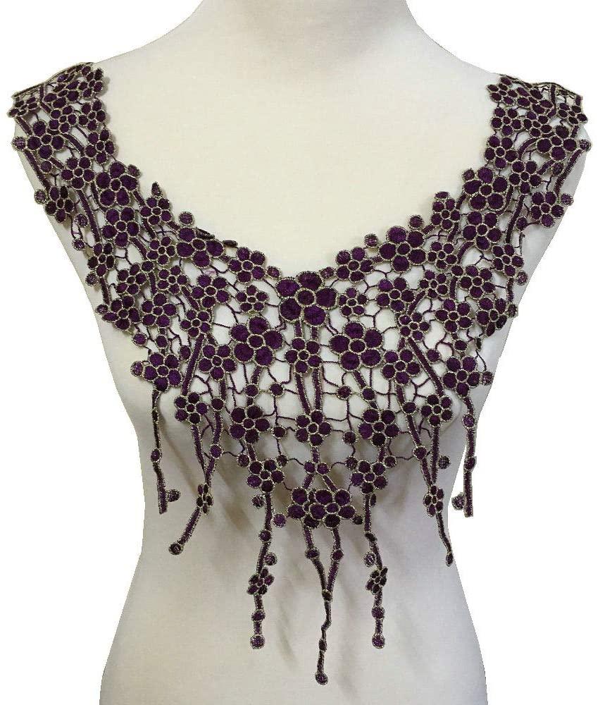 Embroidery Trim Neckline Collar Applique Fabric Cloth Sew On DIY Craft (Violet A)