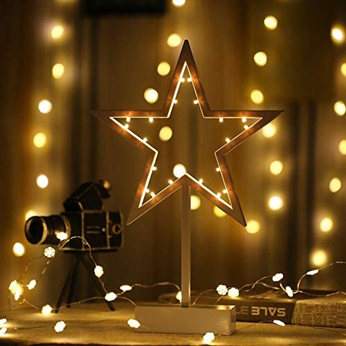 Soft Ever ST Star Shape Romantic LED String Holiday Light with Holder, Warm Fairy Decorative Lamp Night Light for Christmas, Wedding, Bedroom. SE-FT