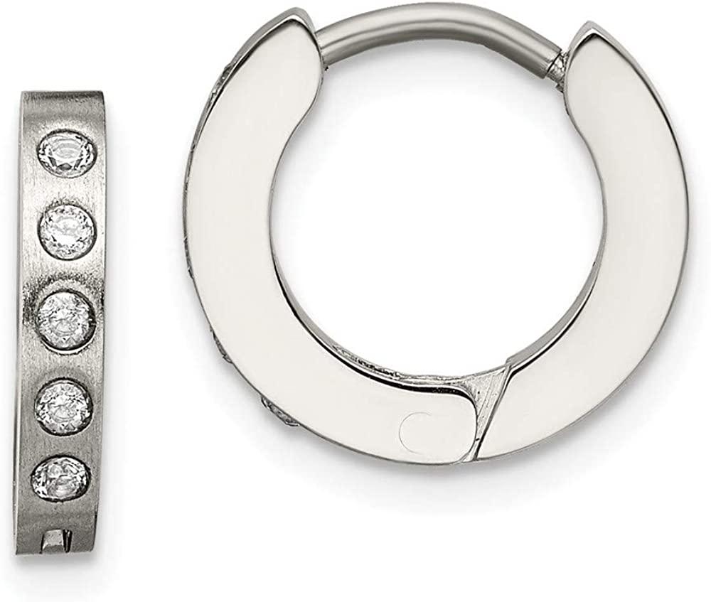 Solid Stainless Steel CZ Cubic Zirconia Hinged Hoop Huggie Earrings - 13mm x 3mm