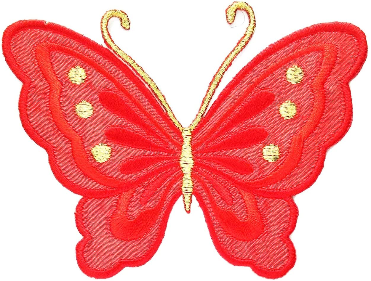 Red Butterfly Animal Cartoon Embroidery Applique Patch Iron on Cotton Applique Animal Punk Rock Butterflies Butterfly Dragonfly Bee Patch Sew Iron on Kids Craft Clothes (10)