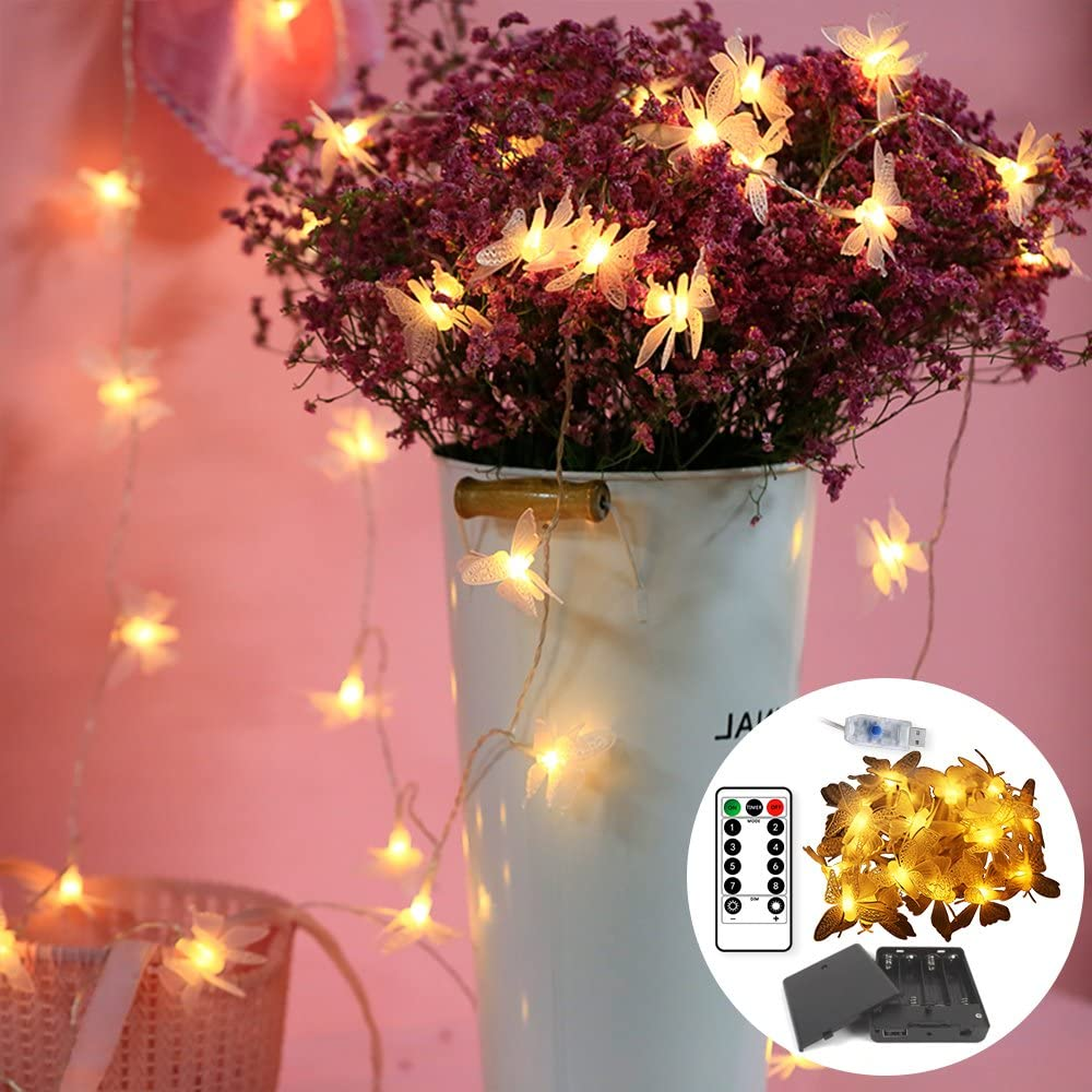 RanDengTaiZi 2'Pack Warm White Butterfly Lights,Gift Battery Box USB Interface,Fairy String Lights Bedroom, Garden,Wedding,Waterproof Decorative Lights,Dimmable Remote Control(9.8ft-20led)