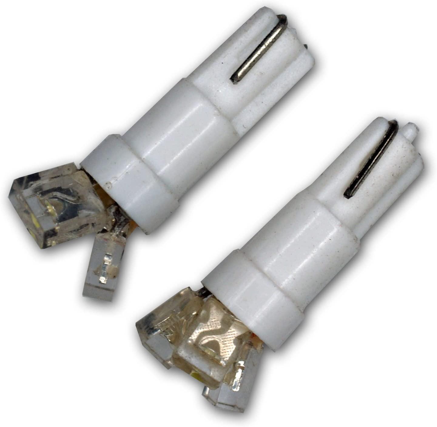 TuningPros LEDIS-T5-W3 Ignition Switch LED Light Bulbs T5, 3 LED White 2-pc Set
