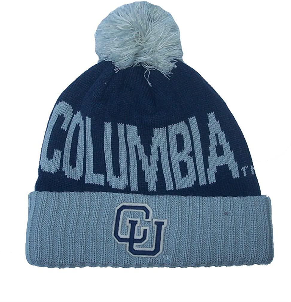 Adidas Columbia Athletics Cuff Knit Beanie w/Pom NCAA Authentic Navy Blue & Gray Hat Cap - OSFA