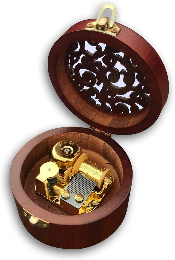 Play (Over The Rainbow) Brown Wooden Circular Hollow Out Music Box with Sankyo Musical Movement