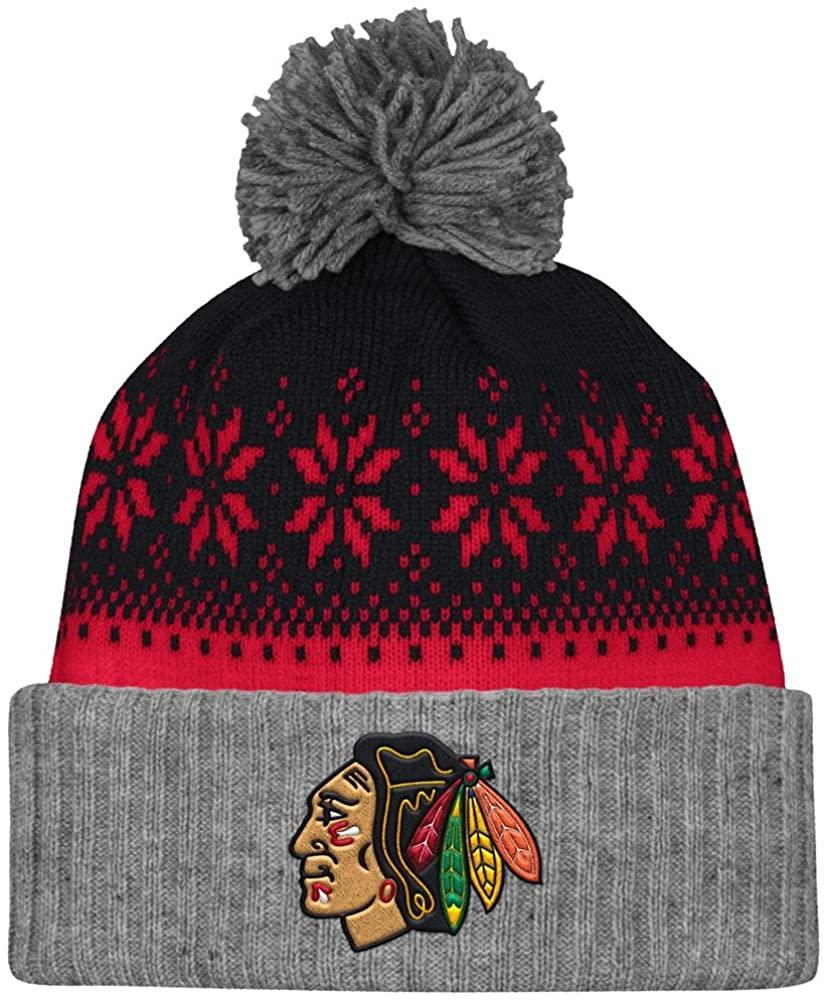 Mitchell & Ness Chicago Blackhawks Arctic Snowflake Cuffed Pom Knit Beanie Hat/Cap