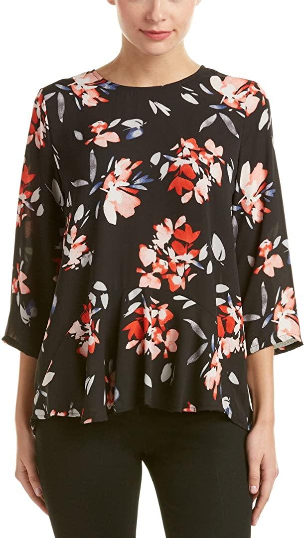 Chaus Women's Three Quarter Sleeve Floral Ruffle Blouse