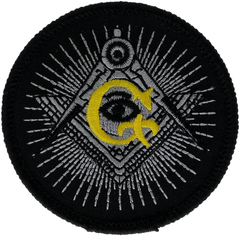 Freemason Eye Compass 2.5 inch Masonic Iron on Embroidered Patch PW_MasonicEye