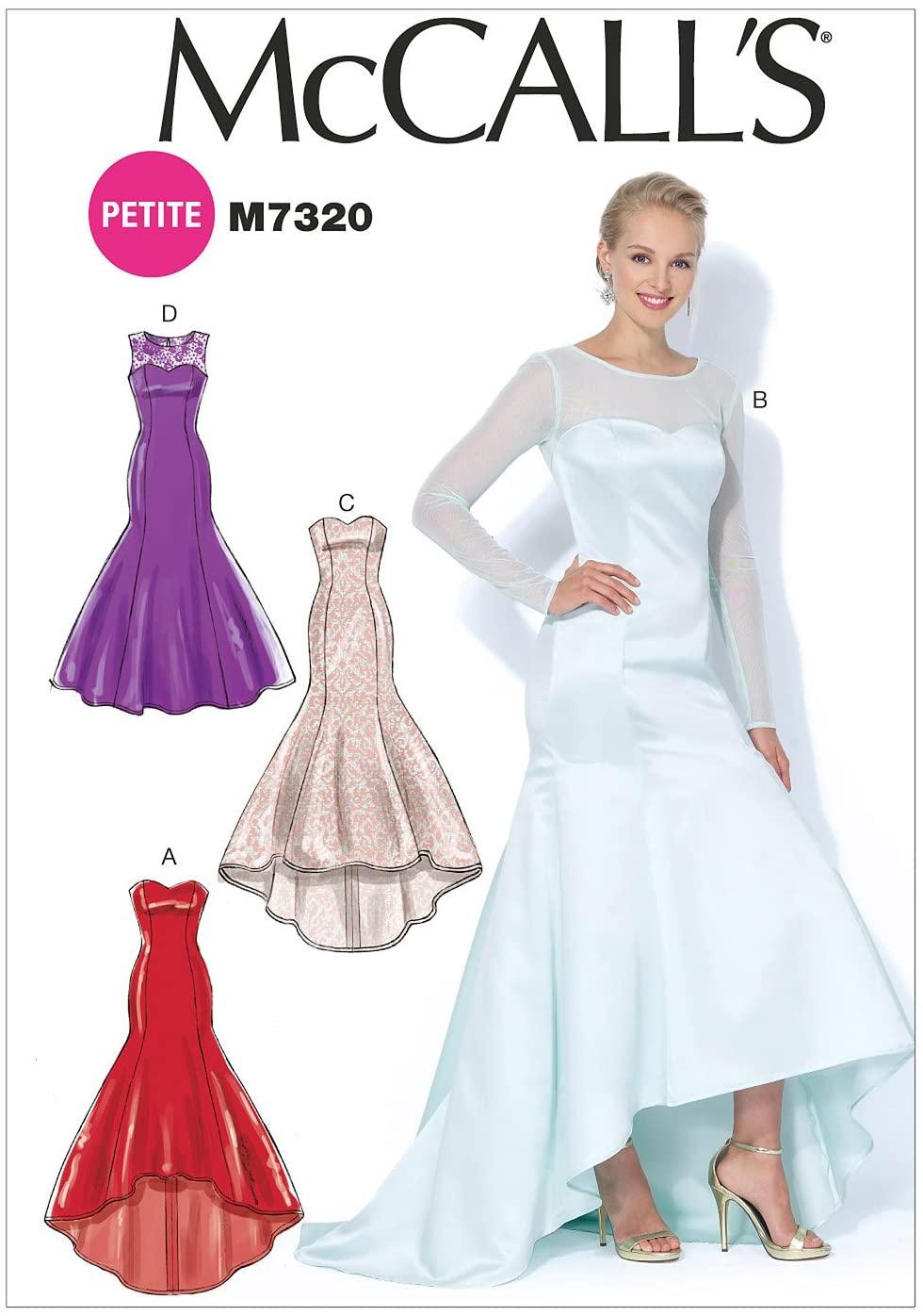 McCalls Patterns M7320 Misses/Miss Petite Mermaid-Hem and High-Low Dresses, Size E5 (14-16-18-20-22)