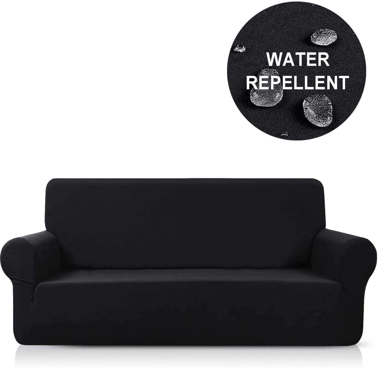 NC HOME Water Repellent High Stretch Sofa Slipcover Reversible Sofa Cover Couch Cover, Furniture Protectors for Dogs with Elastic Bottom, Machine Washable (Large, Black)